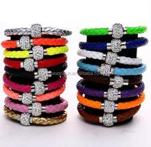 Fashion fluorescence PU leather clay rhinestone magnetic shamballa bracelet