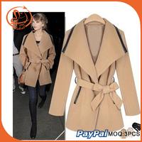 long sleeve women woolen winter coats patchwork elegant party overcoat factory wholesale