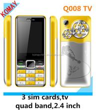 KOMAY cheap mobile phone q008 tv 3 sim cards cellphone q008