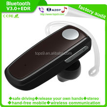 Top quality 2015 bluetooth headset with stereo music sound handfree can work with two phones toghter
