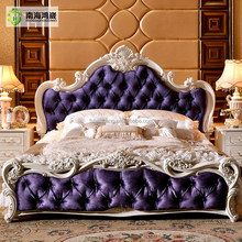 Luxury Classic King Size Wood MDF Royal French Style Barocco Bedroom Furniture Set