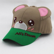 retail patch embrodiery brushed cotton hats with bear ears