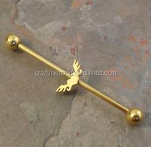 Gold Winged Heart Industrial Barbell Piercing Upper Ear Ring Piercing Jewelry