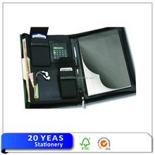 China supplier L leather pu folder with calculator
