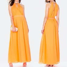 Custom Design OEM Fashion Dress Ladies Neckline V-neck Orange Long Chiffon Maxi Dress for Summer