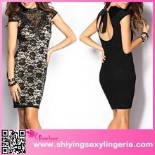 New Design Wholesale Black High Neck Open Back Lace Vintage Dress girl sexy image