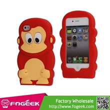 For iPhone 6 4/4s Case, Smart 3D Monkey Pattern Cute Soft Silicone Jelly Case for iPhone 4/4s
