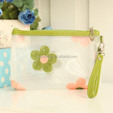 2015 New Design 8 Colours Beautiful Girls Clear Cosmetic Pvc Bag With Flowers