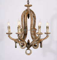 6 bulbs Indoor Lighting rustic wooden chandelier rustic home chandelier lighting