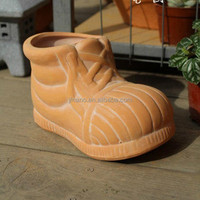 Indoor decorative ceramic terracotta craft boot shape flower planter