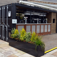 POP-UP container coffee bar design, Hydraulic system Mobile container bar