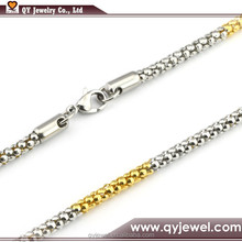"""1.9 mm Two Tone Stainless Steel Popcorn Chain Necklace Women's Jewelery 18"""" - 36 inch"""