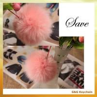 Various Color Ball Shape Fox Fur Plush Cars Keychain from China BA 005-6