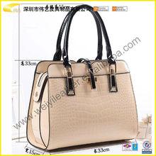 2015 OEM Handmade Popular Fashion Funny Designer Brand Genuine Cow Leather Crocodile Handbag For Cheap Woman`s Leather Bag