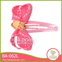 Pink decoration bowknot bow metal barrette hair clips plain