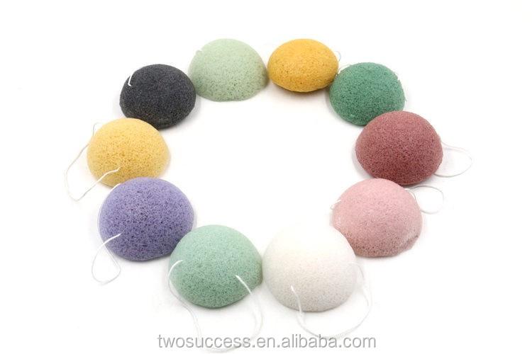 Deep cleansing natural konjac fiber round soft face wash sponge.jpg