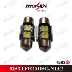 31mm 2smd festoon 12v led dome with white/red/yellow/green/blue/pink color