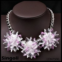 glass sheet Coral ball acrylic flowers Stainless steel chain wholeale cheap statement Lobster clasp costume jewelry necklace
