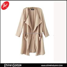 New women's casual thin long trench coat jacket s m l beige women fashion coats 2015