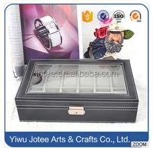 12 Grid Slots PU Leather Jewelry Watches Display Storage Box Case