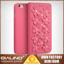 QIALINO Classic Best Quality Hand-Made Cow Leather Grid Leather Case For Iphone6