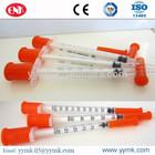 Médicos descartáveis ce iso 1ml seringa de insulina u-100 agulha fixa