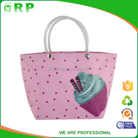 Custom printed recycle material pink pp woven gift shopping bag
