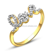 Gold finish Fancy micro pave love ring