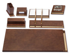 LUXURY , LEATHER AND GOLD PLATED DESK SET