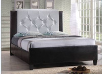 Black And White PVC Double leather Bed For Bedroom