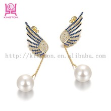 pictures of color stone diamond silver earrings woman