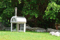 Freestanding outdoor wood fired garth pizza oven with caster