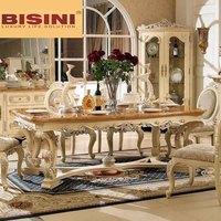 Bisini Wooden Top Long Dining Table 8 seats, 8 seater dining table marble top
