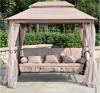 luxury outdoor patio gazebo reclining bed swing with mosquito net and roof