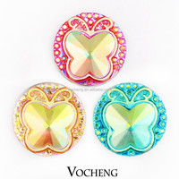 Wholesale 20PCS/Lot Cute Butterfly Snap Button Vocheng 18mm 5 Colors Acrylic Ginger Snap Jewelry (Vn-711*20) Free Shipping