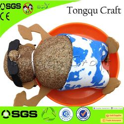 Home Decoration toy bicycle model grass head doll ride on panda toy , hatching dinosaur egg toy