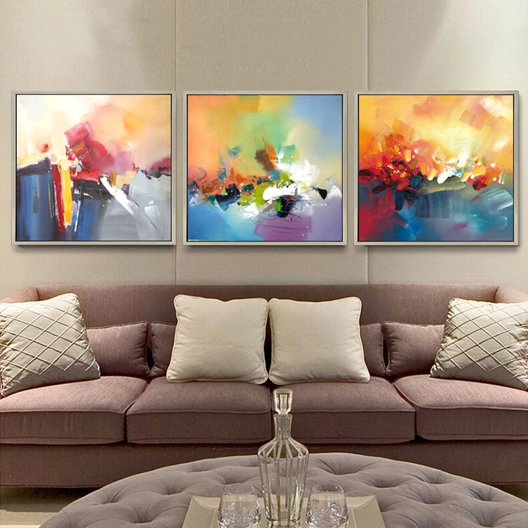 furniture decor modern wall art canvas abstract with picture frame oil painting