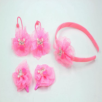 Newest HL-0282 Colored Cute Bear Hairband Suit Children Five-Piece Hair Accessory Set