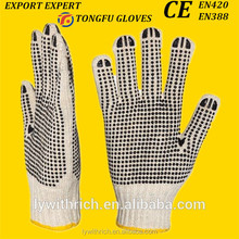 bleached white 10 gauge cotton pvc dotted working gloves safety gloves