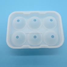 Venta al por mayor nuevo BPA libre aprobado por la FDA de la categoría alimenticia clara 6 bola de hielo del silicón fabricante de moldes