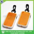 Insignia de encargo plástico Reflector Led llavero, rectángulo llavero luz, reflejar la luz del Flash