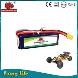 high discharge Lithium polymer 11.1V 3S 3 cell 45C 2200mah rc li po battery