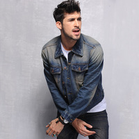 The new Europe and the United States men's denim jacket Washed denim jacket Men's denim garment