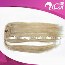 top quality blonde human hair ponytail for white women virgin indian clip in one piece hair extensions