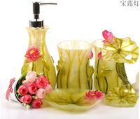 Light Green Lotus Leaf Resin Accessories for Bathroom Set