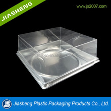China Custom disposable ecofriendly biodegradable PET Clear plastic cake box with printing paper blister packaging