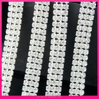 SS16 3rows cheap strass cup chain rhinestone bridal trimmings chain