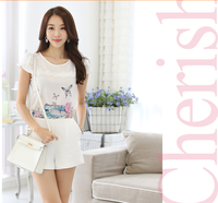 HJC-1074 Veri Gude 2015 summer latest printed ladies tops lace stitching round collar women chiffon blouse
