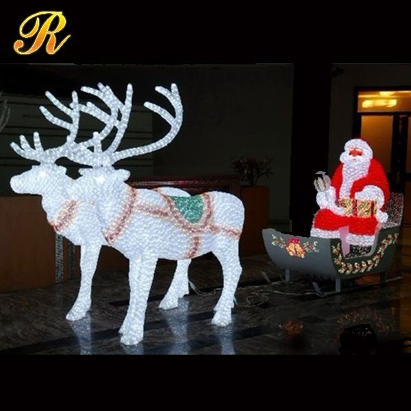 led lighted santa claus with reindeer sleigh buy santa claus led. Black Bedroom Furniture Sets. Home Design Ideas