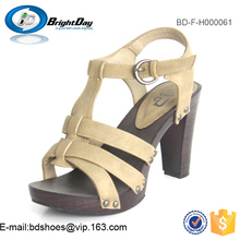 Man made leather dress sandals Ankle strap court shoes stylish high heel sandals